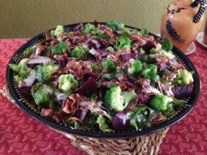 Broccoli, bacon and beetroot salad at Serondella Lodge